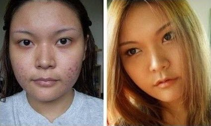Before and after photos of Asian girls with and without makeup.