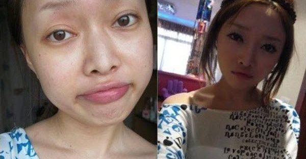 Chinese girls with make-up and no make-up.