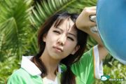 """The planned """"real life version"""" of """"Xiao Yue Yue"""" in a photo of her as a volunteer for the 2010 Shanghai World Expo."""