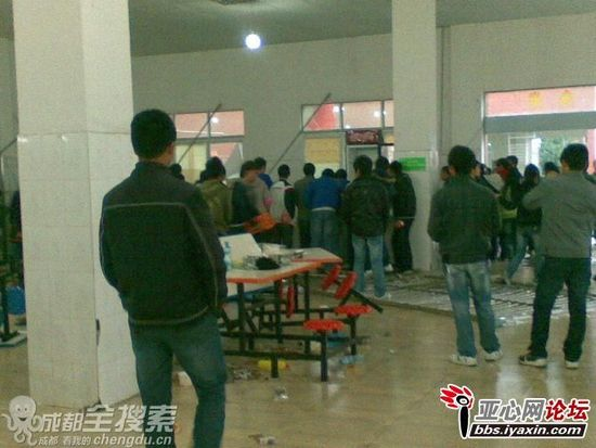 Chinese high school student rioters in the cafeteria they attacked and vandalized.