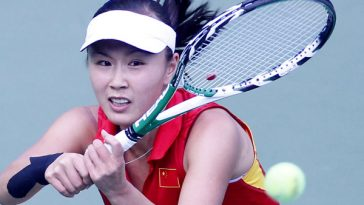 Chinese female tennis player Peng Shuai wins gold at the 16th Asian Games in Guangzhou.
