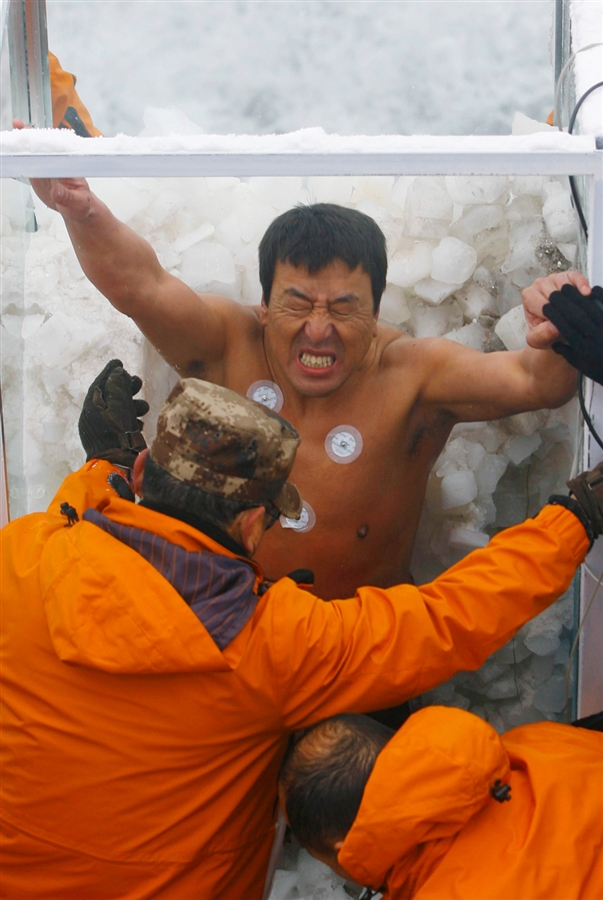 "An ""iceman"" competition in Hunan, China breaks a Guiness World Record twice."