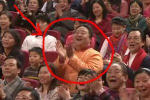 Is this man a paid audience member for China's annual CCTV New Year's Eve Gala?