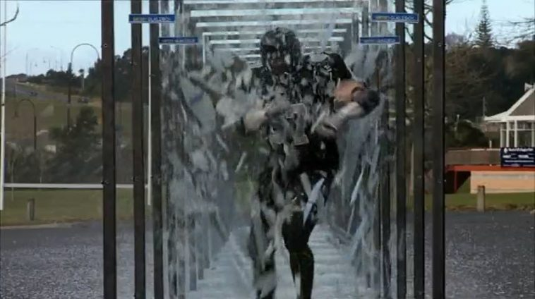 Reuben De Jong's successful world record challenge in 2009, where he broke through 15 panes of glass.
