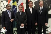 India's S.M. Krishna, Brazil's Antonio Patriota, Japan's Takeaki Matsumoto, and Germany's Guido Westerwelle at the United Nations headquarters issuing a joint statement seeking permanent seats on the UN Security Council.