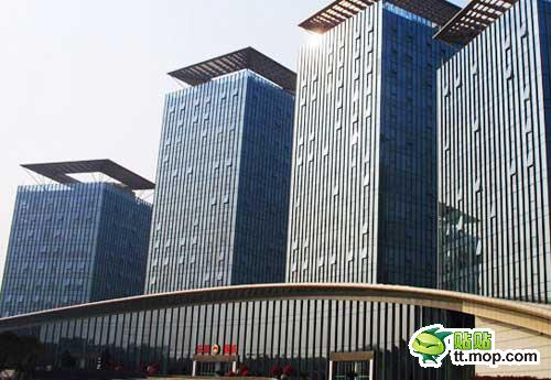 A Chinese government building in Changxing county of Huzhou city of Zhejiang, China.