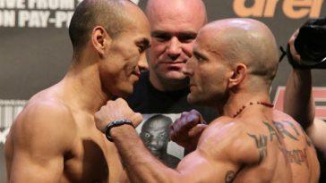 UFC Zhang Tiequan vs. Jason Reinhardt stare down.