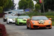 Lamborghinis and Ferraris as part of a Chinese wedding motorcade in Wenzhou city.