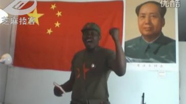 "An African man named ""Brother Hao"" sings a Chinese Revolutionary-Era propaganda ""red"" song to honor the Chinese Communist Party's upcoming 90th anniversary."