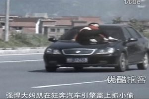 A Chinese woman hangs onto the hood of a speeding black car in Zhejiang, China, trying to catch the thief driving.