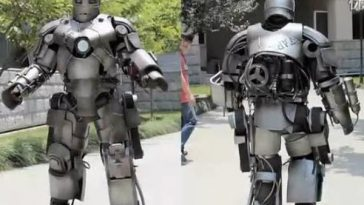 A Chinese man in Shanghai wearing his home-made Iron Man MK I armor.