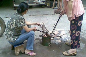 Chinese women roasting a small puppy over an open fire on the street.