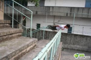 Planking as performed throughout various locations in Chengdu, China.