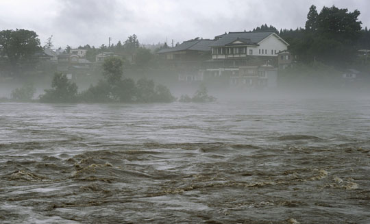 Agano River flooding in Aga, Niigata Prefecture of Japan.
