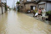 A flooded street in Sanjo, Japan.