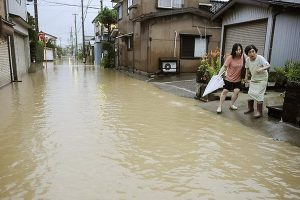A flooded street in Sanjo, Japan.