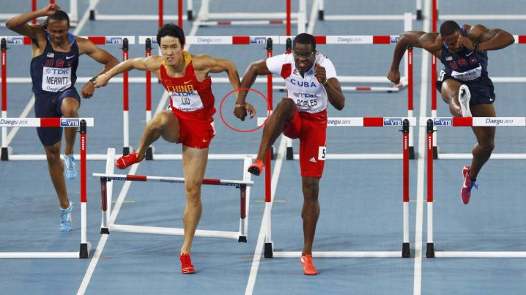 Liu Xiang and Dayron Robles during the 110m Hurdles at the 2011 Word Championships in Daegu, Korea.
