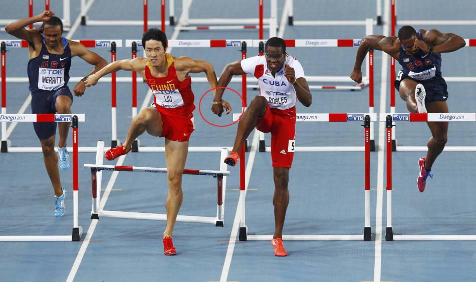Liu Xiang and Dayron Robles during the 110m Hurdles at the 2011 Word Championships in Daegu, Korea.