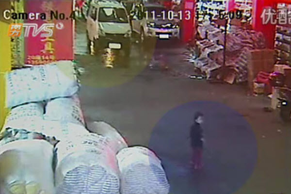 Highlighted, a 2-year-old little girl about to be hit and run over by a white van in the background, in Guangdong, China.