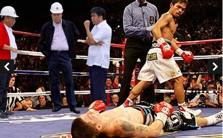 A photoshop of the floating Filipino government officials, at a boxing match.