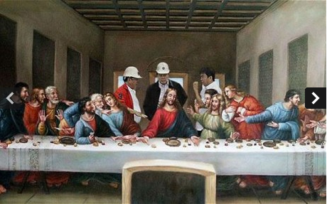 A photoshop of the floating Filipino government officials, at the Last Supper of Jesus Christ.