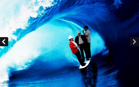 A photoshop of the floating Filipino government officials, surfing on a surfboard.