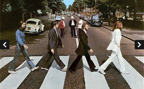A photoshop of the floating Filipino government officials, on The Beatles Abbey Road album cover.