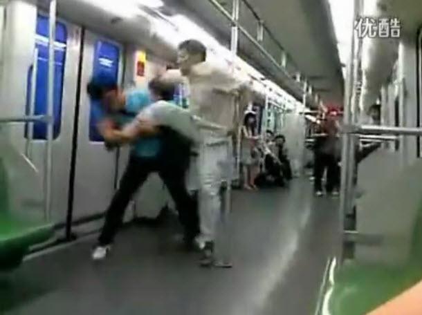 Cunt kicking street fight