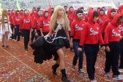 Chinese middle school students in cosplay and costumes at a sports meet in Nanning of Guangxi province.