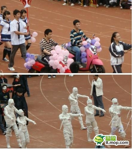 Chinese middle school students in costumes at a sports meet in Nanning of Guangxi province.