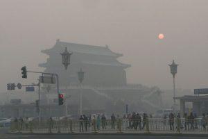 Beijing's Qianmen Jianlou shrouded in polluted fog.