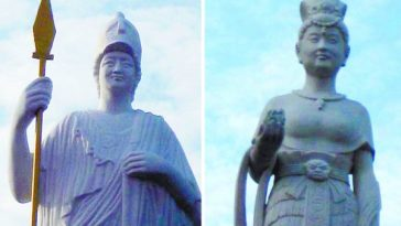 Two statues, one of Athena from Greek mythology and one of Nuwa from Chinese mythology, were given the faces of two female school board members at Northwest University's Modern College.
