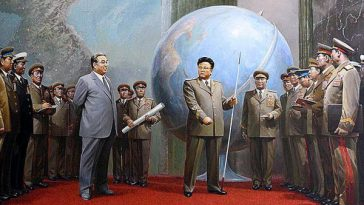 A collection of North Korean propaganda posters featuring the late Kim Jong-il featured by popular Chinese news portal NetEase upon his death.