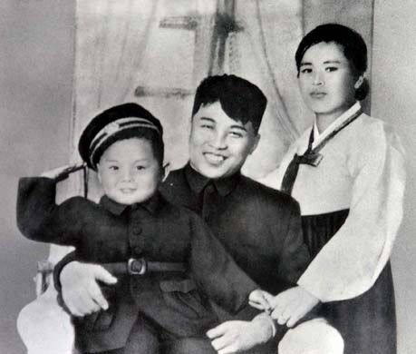 Kim Il-sung family portrait with wife and son Kim Jong-il.