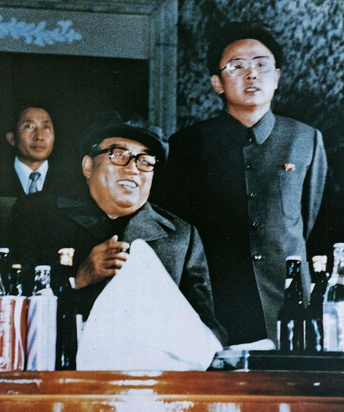 Kim Il-sung with son Kim Jong-il in North Korea.