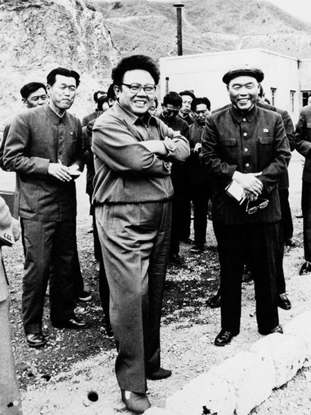 Kim Jong-il visiting the people.