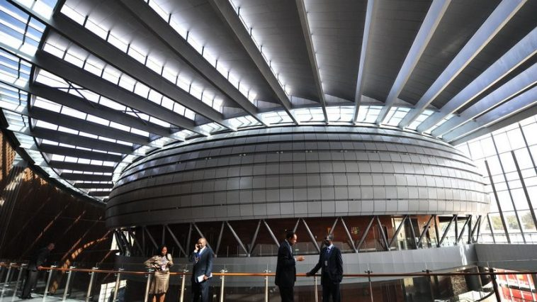 Interior view of the African Union Conference Center in Ethiopia's Addis Ababa.