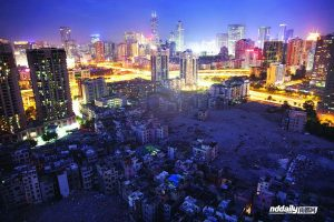 Guangzhou's Yangjicun with vast tracts of buildings already demolished and cleared.