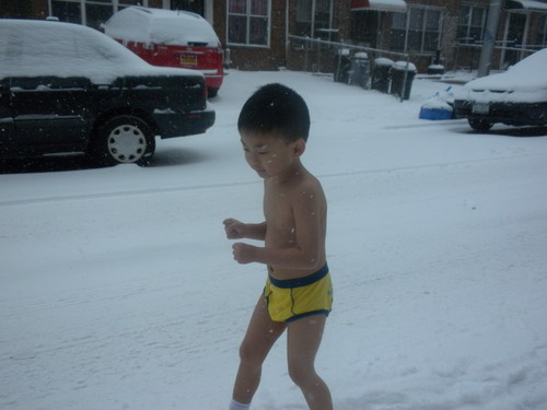 "A Chinese father has been nicknamed ""Eagle Dad"" for forcing his 4-year-old son to run in the snow wearing only underwear."