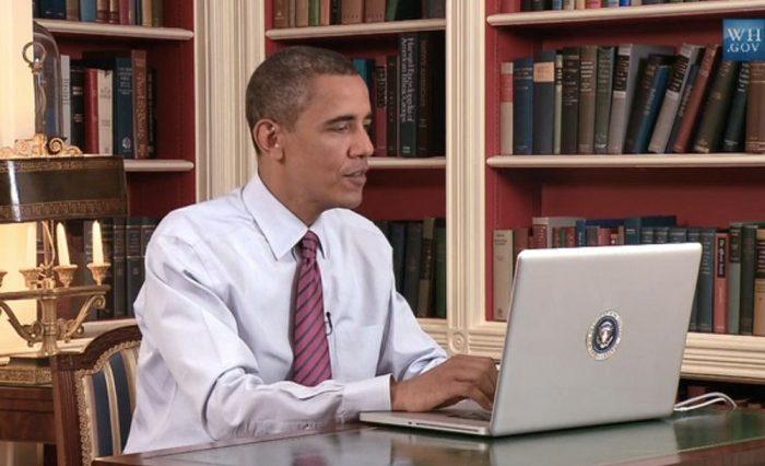 Barack Obama on laptop computer.