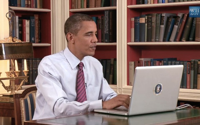 Barack Obama on laptop computer.