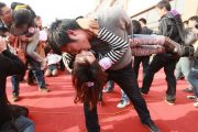A creative kissing competition in Hefei city of Anhui, China.