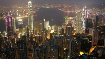 View of Hong Kong's Central district from Victoria Peak at night.