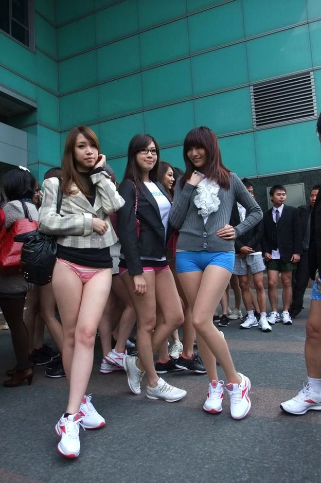 Taiwanese girls flaunt their assets in a mock