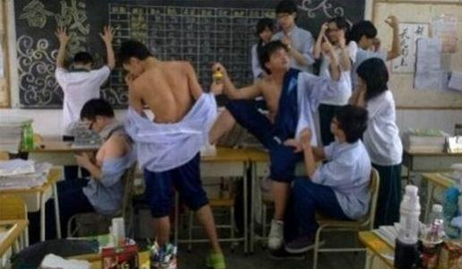 Chinese students reenacting The Death of Socrates.