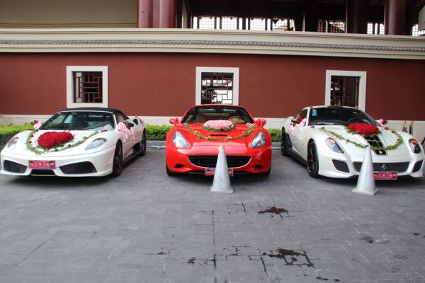Three of the six Ferrari supercars given to the groom as the bride's dowry.