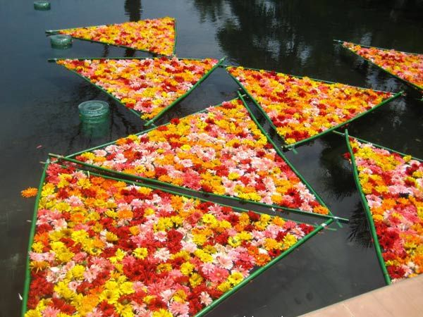 Flowers floating on a lake at a lavish wedding held by a Shanxi coal boss for his daughter.
