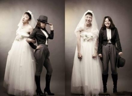 Chinese cross-dressing wedding photos.