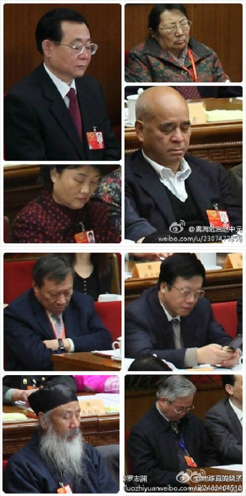 """Netizens are gleefully scouring a high-res picture of China's Two Meetings to find """"highlights"""" of members sleeping, playing games, and slacking off."""