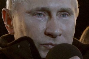 Vladimir Putin with tears in his eyes and rolling down his face after winning the 2013 Russian presidential election.
